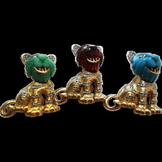 BOUCHER Tri-Colored Enamel Rhinestone Trio Tiger Cubs