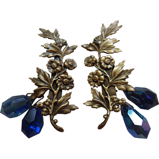 JOSEFF OF HOLLYWOOD Flower Earrings w/ Cobalt Blue Crystal Dangles (circa 1950s)