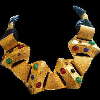 LES BERNARD Couture Egyptian Revival Necklace