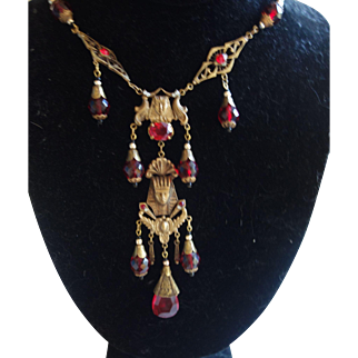Czech Red & Opal Glass Beads Eyptian Revival Necklace