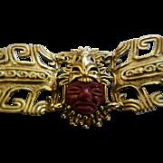 SALVADOR TERAN Marbel Aztec God Gold Plate Bracelet (Mexico)