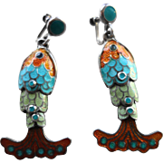 MARGOT DE TAXCO Mexican Sterling Silver & Enamel Dangling Fish Earrings