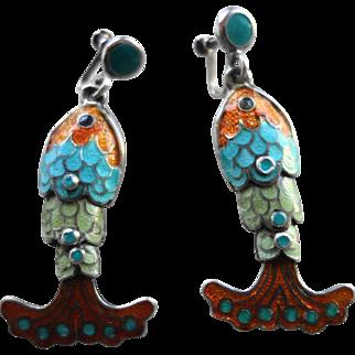 MARGOT DE TAXCO Mexican Sterling Silver & Enamel Dangling Fish Earrings