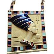 EGYPTIAN REVIVAL Queen Nefertiti Enamel Ceramic Necklace