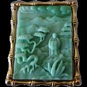 HATTIE CARNEGIE Oriental Scene Faux Jade Pin