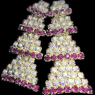 SCHIAPARELLI Mid-Century Clip AB Crystal Rhinestone Flower Dangle Earrings