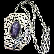 LOS CASTILLO 40's Mexican Sterling Amethyst Pendant Necklace