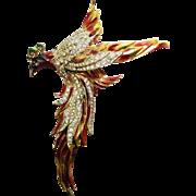 COROCRAFT Sterling Silver Enamel Rhinestone Phoenix Bird Pin