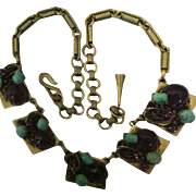 Amethyst Peking Art Glass Goldtone Necklace