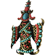 Siamese Dancer Turquoise & Coral Glass Beads Brooch/Pin