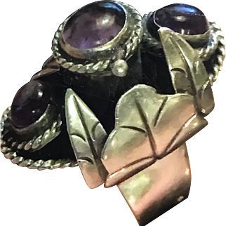 LOS BALLESTEROS Mexican Sterling Silver Amethyst Poison Ring