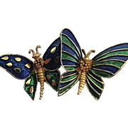 BOUCHER Signed Green Blue Enamel Butterfly Pin/Brooch