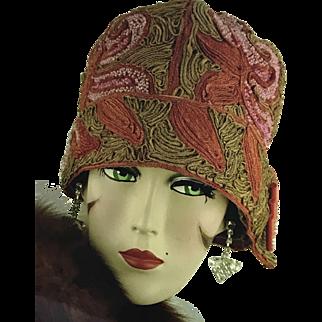 Original 1920's Cloche Soutache, Embroidery And Beadwork