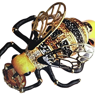 Fifilapin French Enamel Crystal Bee Clamper Bracelet