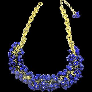 1940's Cobalt Blue Molded Glass Flower Charm Celluloid Chain Necklace