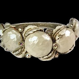 HAR Clamper Bracelet Antiqued Whitewash With Aurora Borealis Rhinestones