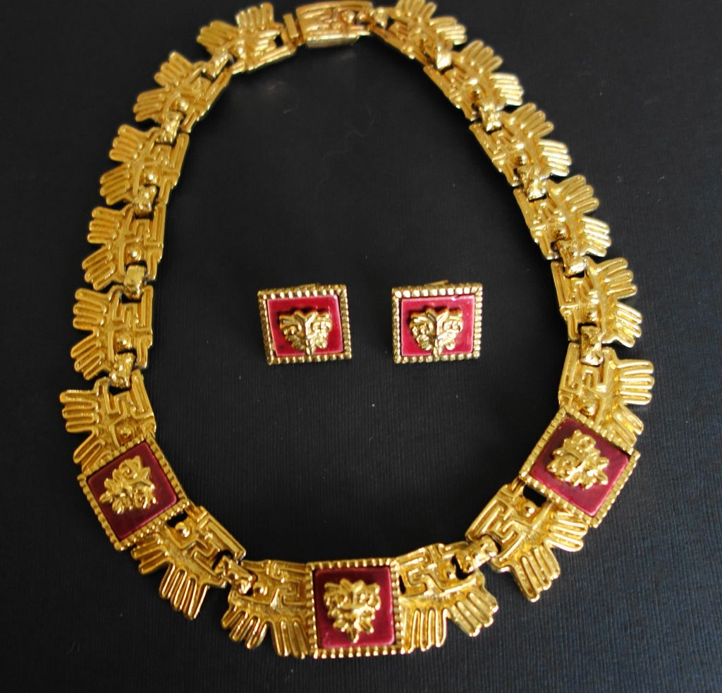 Mexican GoldPlated Necklace Earrings With Cabernet Ceramic Tiles