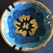 Salvador Teran Blue & Black Mosaic Brass Bowl