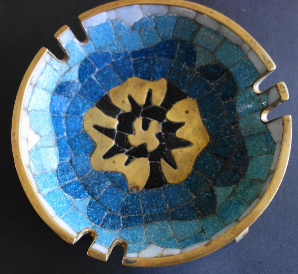 Salvador Teran Blue & Black Mosaic Brass Bowl