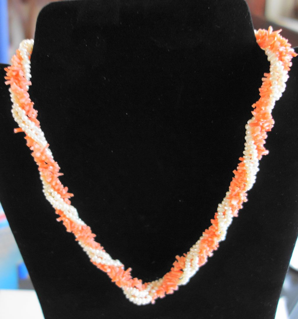 Angel Skin Coral Faux Pearl Twist Necklace With 24K Gold Clasp