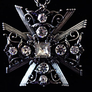 JOSEFF Crystal Maltese Cross Pendant/Necklace
