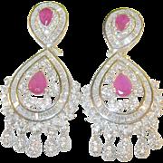 Vintage Sterling Chandelier Earrings Rubies / Swarovski Crystals