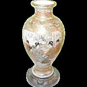 Vintage Satsuma Miniature Vase Silver Base