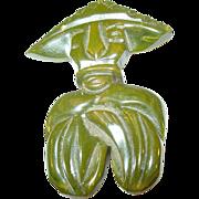 Vintage Bakelite Brooch Oriental Character