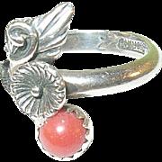Vintage Sterling Coral Ring Squash Blossom Design