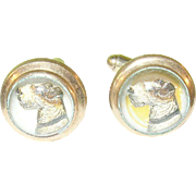 Vintage Cuff Links by Hayward Reverse Painted Crystals Terriers