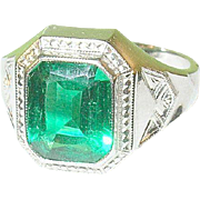 Vintage Silver Plated Faux Emerald Ring