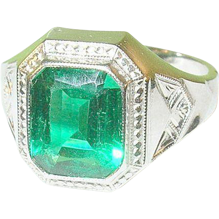vintage silver plated faux emerald ring from robbiaantique