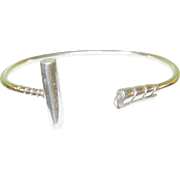 Vintage 900 Coin Silver Cuff Bracelet Polo Stick Design