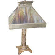 Vintage Trench Art Lamp Stained Glass