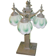 Vintage Bronze Table Lamp  4 Water Lilies Glass Globes