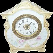 Vintage Porcelain Clock Handpainted Design Pat. 1902