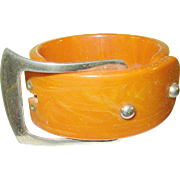 Vintage Bakelite Hinged Bangle Belt Buckle Design