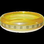 Vintage Bakelite Apple Juice Bangle Gold Dust Strip
