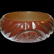 Vintage Bakelite Bangle Heavily Carved