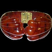 Vintage Bakelite Hinged Bangle Root Beer Shell Design