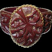 Vintage Bakelite Hinged Bangle Heavily carved