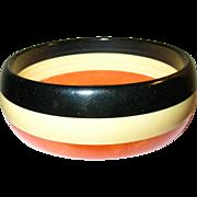 Vintage Bakelite 3 Stripe Colored Bangle