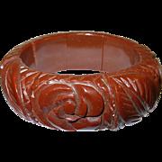 Vintage Bakelite Expandable Bracelet Heavily Carved