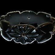 Vintage Bakelite Bangle Carved Flowers