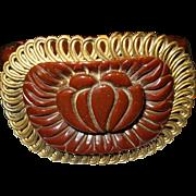 Vintage Bakelite Hinged Bangle Carved / Metal Work
