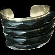 Vintage Bakelite Metal French Cuff Bracelet