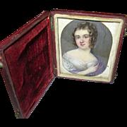 Antique Miniature Portrait Painting 1820's