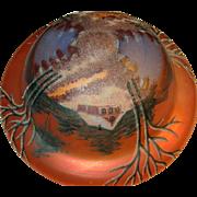 Vintage Lg Iridescent Handpainted Globe Ceiling Shade