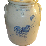 Antique Stoneware Crock Flow Blue Decoration 4 Gal S.L. Pewtress Fair Haven Conn