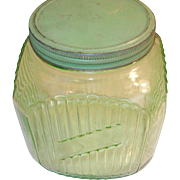 Depression Glass Storage Jar Green